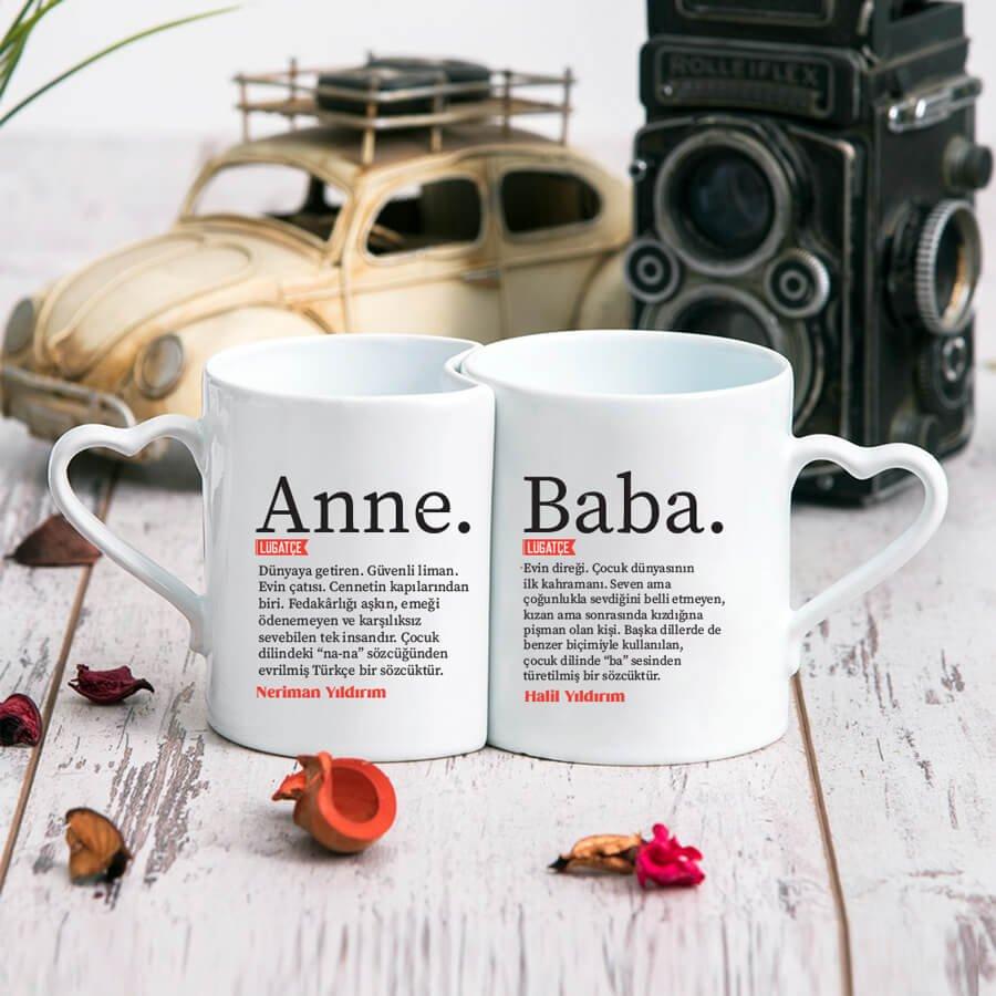 Anne & Baba Tasarımlı 2'li Kalp Kupa