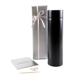 İsim Baş Harf Tasarımlı Dijital Sıcaklık Göstergeli Çelik Termos Siyah - Thumbnail