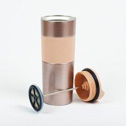 Kişiye Özel İmza Tasarımlı French Pressli Çelik Termos Rose - Thumbnail