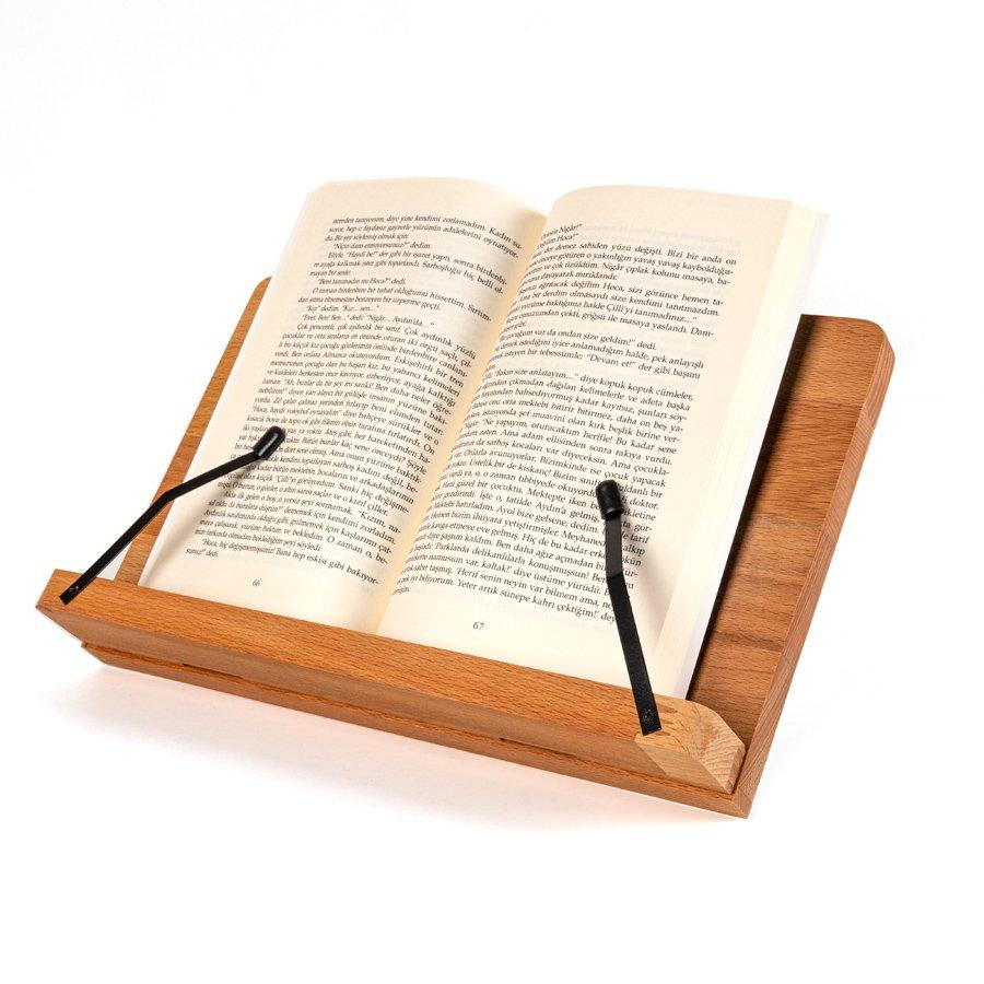 Masif Ağaç Cilalı Ayarlanabilir Kişiye Özel Tablet ve Kitap Okuma Standı